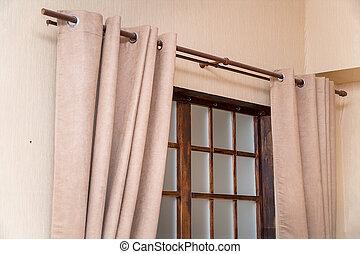 ライト, カーテン, 窓, 客間