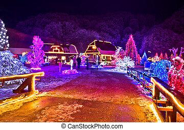 ライト, クリスマス, カラフルである, 村