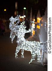 ライト, クリスマス, バックグラウンド。, bokeh, deer., 焦点がぼけている, 日