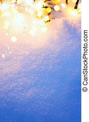 ライト, クリスマス, 背景, 雪が多い