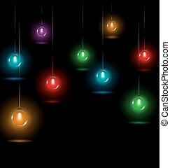 ライト, クリスマス, 黒