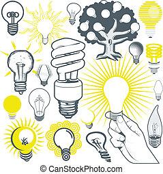 ライト, コレクション, 電球