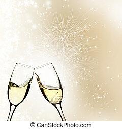ライト, シャンペン, 休日, に対して, ガラス