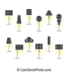 ライト, シルエット, セット, ランプ, 出ること