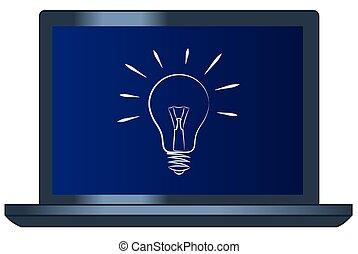 ライト, シンボル, コンピュータ, ラップトップ, 電球