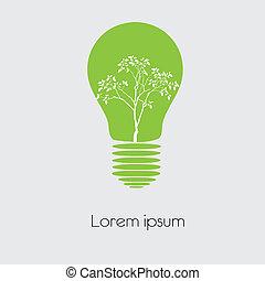 ライト, シンボル, 概念, 木, 電球