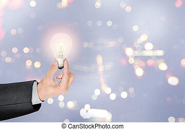 ライト, シンボル, 考え, 創造的, 明るい, ビジネスマン, 手を持つ, 電球