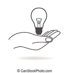 ライト, シンボル, 電球, 手を持つ