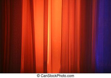 ライト, ステージ, スポット, に対して, カーテン