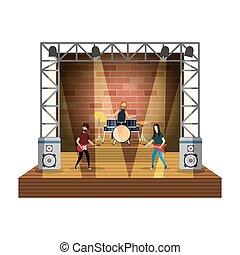 ライト, ステージ, 音楽的な バンド