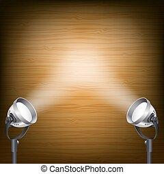 ライト, スポット, レトロ, 背景