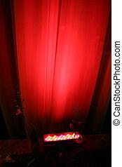 ライト, スポット, 赤, に対して, カーテン