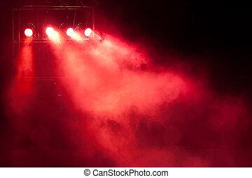 ライト, スポット, 赤, ステージ