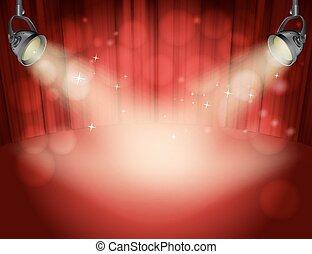 ライト, スポット, 黄色灯, 背景, カーテン, 赤