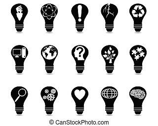 ライト, セット, 考え, 電球, アイコン