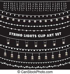 ライト, セット, 黒板, ひも