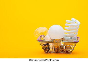 ライト, バスケット, タイプ, 食料雑貨, リードした, 電球, -, 白熱, 別, energy-saving