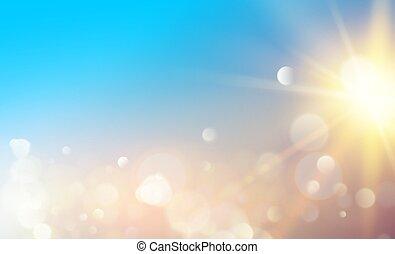 ライト, バックグラウンド。, 太陽, bokeh, 抽象的, 青, 白熱