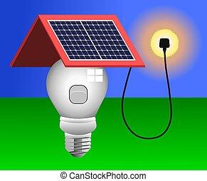 ライト, パネル, 太陽エネルギー