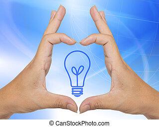 ライト, ビジネスマン, 電球, 手
