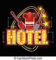 ライト, ホテル, ネオン, 看板