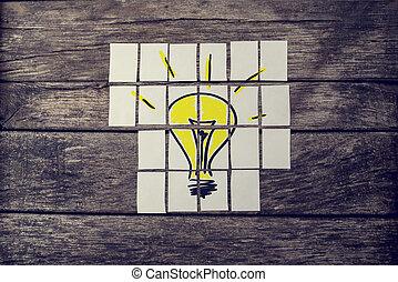 ライト, 上, 黄色, 手, 多数, カード, 引かれる, 組み立てられた, 電球, 光景