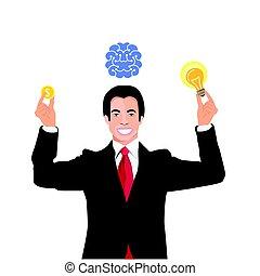 ライト, 下に, 電球, ビジネスマン, 脳