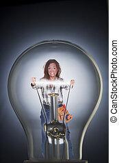 ライト, 中, 女, 電球