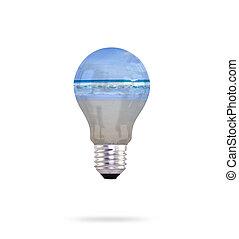 ライト, 中, 海, 電球