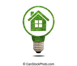 ライト, 中, 緑の家, 電球, 草