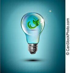ライト, 中, 電球, 細菌
