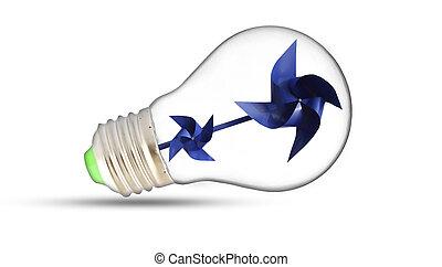 ライト, 中, 電球, 芽