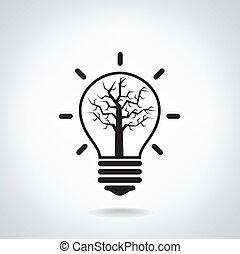 ライト, 創造的, 概念, 考え, 電球