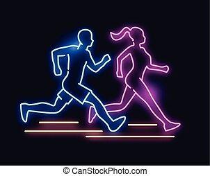 ライト, 動くこと, 人々, ネオン 印