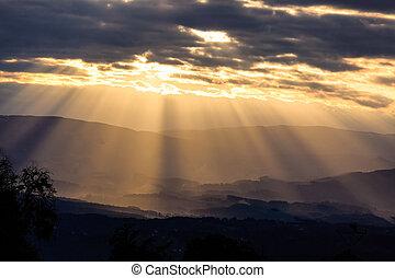ライト, 夕方, 光線, 空