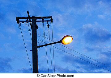 ライト, 夕方, 通り