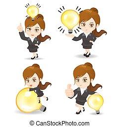 ライト, 女性ビジネス, 電球
