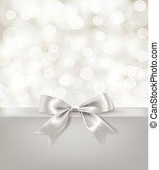 ライト, 弓, バックグラウンド。, ベクトル, デザイン, 効果, テンプレート, 銀, リボン, blurry