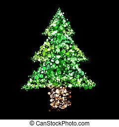 ライト, 形, 木, クリスマス