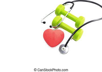 ライト, 心, バックグラウンド。, 聴診器, うそ, 健康