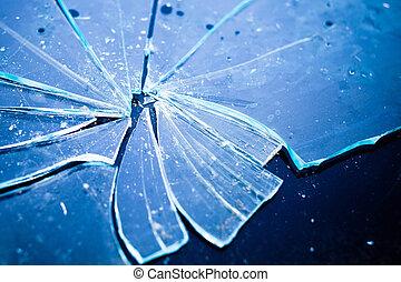 ライト, 手ざわり, 壊される, 青いガラス