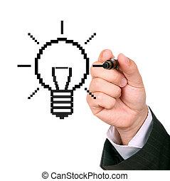 ライト, 手, 図画, 電球