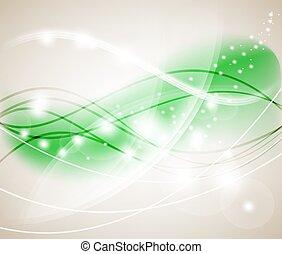 ライト, 抽象的, イラスト, バックグラウンド。, bokeh, ベクトル, 緑