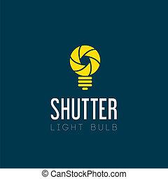 ライト, 抽象的, シャッター, 電球, シンボル, アイコン