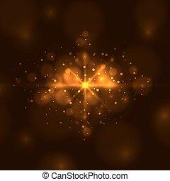 ライト, 抽象的, バックグラウンド。, 明るい, ベクトル, オレンジ
