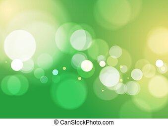 ライト, 抽象的, 緑, bokeh, 背景