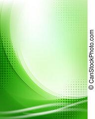 ライト, 抽象的, halftone, 緑の背景, 流れること