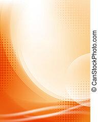 ライト, 抽象的, halftone, 背景, 流れること, オレンジ