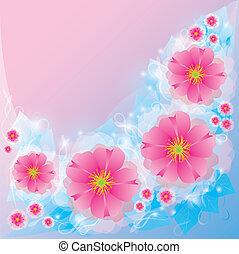 ライト, 挨拶, flowers., 背景, 招待, ∥あるいは∥, カード