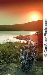 ライト, 日没, 湖, オートバイ
